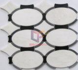 Mattonelle di mosaico bianche del marmo di taglio del getto di acqua di colore della miscela nera (CFW44)