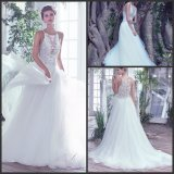 Robe de mariage de plage de courroies de spaghetti de Tulle de robe nuptiale de lacet S17131
