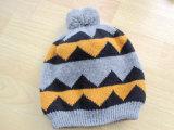 子供の方法多彩な編まれた帽子の帽子