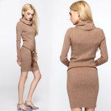 2017명의 새로운 디자인 여자의 자라목 스웨터 긴 스웨터 뜨개질을 하는 복장