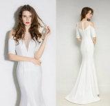 Vestito da sera bianco della fasciatura delle signore di lunghezza del pavimento