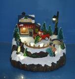 Décoration de la résine de l'artisanat 12'' sence de montagne à LED avec rotation de train, danser les gens, le ski Childs, huit chansons de Noël