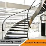 Glasgeländer-Lichtbogen-Treppenhaus/Lichtbogen-Treppe mit hölzernem Schritt