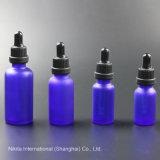 Bottiglia di olio di vetro blu glassata con il contagoccia nero, bottiglia del contagoccia (NBG24B)