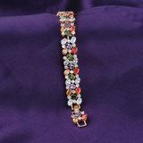 Pulseira encantadora do ouro para o bracelete Multicolour do grânulo de Gemstone das mulheres
