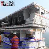 山東Helloo 20FT半2つの車軸容器の平面墓のトレーラー