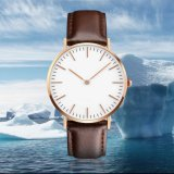 OEM Ultra Thin Alloy Watch Relógio de couro de alta qualidade