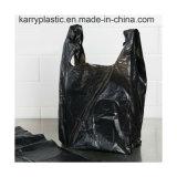 [ب] بلاستيكيّة سوداء نفاية [ت-شيرت] حقائب مع مقبض