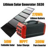 Tudo-em-um Gerador Solar Portátil de 300 Watts-110V/220V/230V AC a carregar
