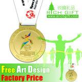 Atacado Custom Gold / Silver / Bronze Medalha de gravura com fita