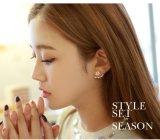 Color oro rosa flor de doble cara cristales Stud Earrings