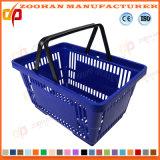 Panier à provisions en plastique de supermarché portatif avec les traitements (ZHb168)