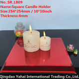 4mm Large Square Red Glass Candle Holder