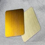 304 Hoja de acero inoxidable color oro Nº 4 acabado cepillado y el panel decorativo de metal
