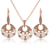 El nuevo oro de Rose del diseño plateó el conjunto de la joyería de las mujeres del ojo de gato