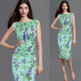 Платье офиса платья Bodycon туники цветка лета женщин флористическое напечатанное вскользь