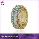 Anel de ouro de 18K forma redonda com anéis de joalharia Zircónia Crystal