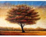 ブラウンの木のパレットナイフの景色の油絵の重い組織上の効果