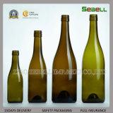bottiglia di vetro verde scuro 750ml per vino con la parte superiore del sughero (NA-010)