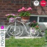 Soporte decorativo del plantador de la bicicleta de 3 crisoles del jardín gris antioxidante del cemento