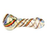 Tubulação ambarina colorida da mão da tubulação da colher da tubulação de fumo da listra da tubulação de vidro