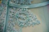 Robe de soirée bleue transparente de Tulle de broderie sexy
