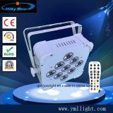 9PCS 9W 3in1 RGB LED 편평한 호리호리한 동위는 빛 높은 쪽으로 배터리 전원을 사용하는 무선 DMX 동위로 할 수 있다