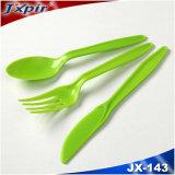 착색된 녹색 처분할 수 있는 플라스틱 칼붙이 장비