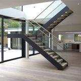 현대 유행 단단한 나무 보행 U 모양 철 똑바른 목제 계단