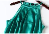 Robe Chiffon double d'épissure sans manche et sans bretelles de Halter vert longue d'usager