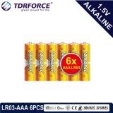 acumulador alcalino seco primario 1.5volt con Ce/ISO 6PCS/Pack (LR03/AM-4/AAA)