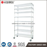 Aprovaçã0 do NSF & do GV 8 camadas do trole plástico do Shelving do fio de aço do escaninho do cromo industrial com Whhels