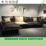 新しい余暇のドバイの本革およびファブリックL形のソファー