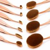 10PCS Luxuxrose Goldträgt ovale Zahnbürste-Verfassung Installationssätze, bilden die Puder-Basis-Augenschminke-Kurven-Form-Pinsel-Kosmetik auf, die mit eingestellt wird