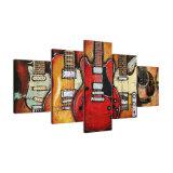 Cuadros modulares impresos HD modernos del marco del arte de la pared de la pintura de la lona 5 pedazos de la guitarra de la música del cartel de la decoración abstracta de la sala de estar
