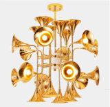 Lampadari a bracci moderni di figura della tromba del metallo di illuminazione della sospensione di arte creativa per il progetto