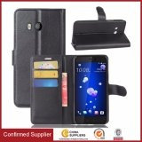 Cas en cuir de couverture d'étui de téléphone mobile de pochette d'unité centrale de chiquenaude de qualité pour HTC U11 avec le détenteur de carte