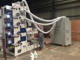 A máquina de impressão de Flexo (cor 5) com laminação/desaparece/cortando a folha de /Cold