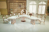 LED métalliques décoratifs en acier inoxydable ronde Une table à manger Table de mariage
