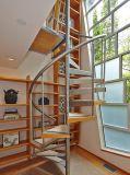 Fluss-Stahl-hölzerne Strichleiter-Gitter-Entwurf Spiiral Treppe
