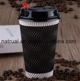 Tazze di carta stampate abitudine dell'Eco-Amico dell'ondulazione del caffè caldo a gettare della parete