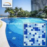 De glanzende Diepe Blauwe Vierkante Materiële Tegel van het Zwembad van het Mozaïek van het Glas
