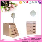 Cubo grande imitación de cuero caja de cosméticos para el hogar (8161)