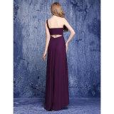 Mousseline de soie d'Étage-Longueur une robe de demoiselle d'honneur d'épaule avec draper latéral