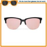 Половины пластмассовой рамкой солнечные очки с круглыми Покрытие объектива 2017