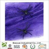 Halloween 거미를 가진 신축성이 있는 거미줄 자주색 거미집 훈장