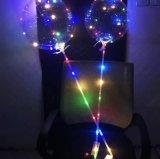 Los globos que contellean LED encienden para arriba los globos brillantes decorativos de los 3m del banquete de boda transparente LED del globo con los regalos de la Navidad del palillo