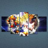 Cuadro modular de la pared del arte del marco casero moderno de la decoración 5 pedazos del Anime del dragón de la bola de la herencia HD de la impresión de la lona de pintura para la sala de estar