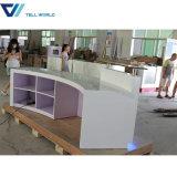 Bureau de réception en pierre artificiel des meubles DEL de bureau de réception