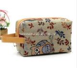 Bolso cosmético Zippered lona animal del artículo de tocador del bolso del maquillaje del bolso de la impresión